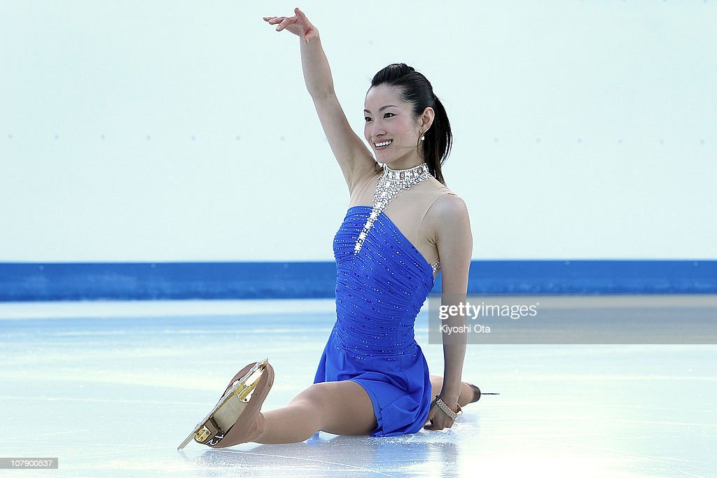 Figure skater Shizuka Arakawa, the 2006 Turin Winter Olympics figure skating gold medalist, performs during the opening ceremony for the Citi Ice Rink at Tokyo Midtown on January 6, 2011 in Tokyo, Japan. The outdoor ice skating rink will open between January 7 and February 28.