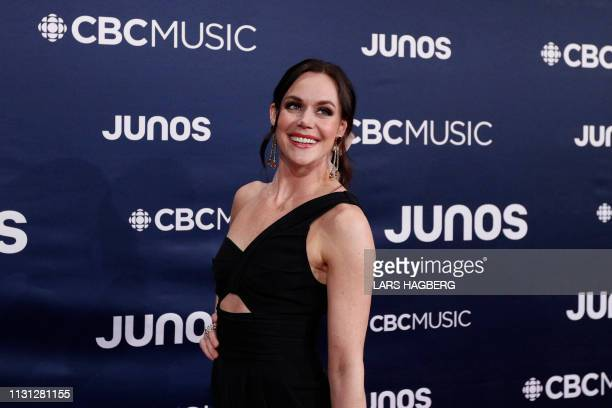 Figure skater Tessa Virtue arrives on the red carpet for the Juno Music Awards at Budweiser Gardens in London Canada March 17 2019