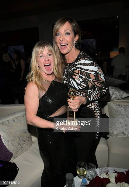Figure Skater Tonya Harding and actor Allison Janney attend the 2018 InStyle and Warner Bros 75th Annual Golden Globe Awards PostParty at The Beverly...