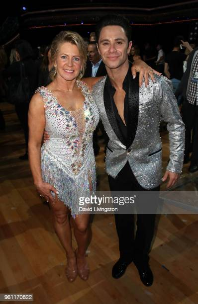 Figure skater Tonya Harding and dancer/TV personality Sasha Farber pose at ABC's 'Dancing with the Stars Athletes' Season 26 Finale on May 21 2018 in...
