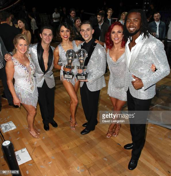 Figure skater Tonya Harding dancer/TV personality Sasha Farber Mirrorball trophy winners dancer/TV personality Jenna Johnson and figure skater Adam...