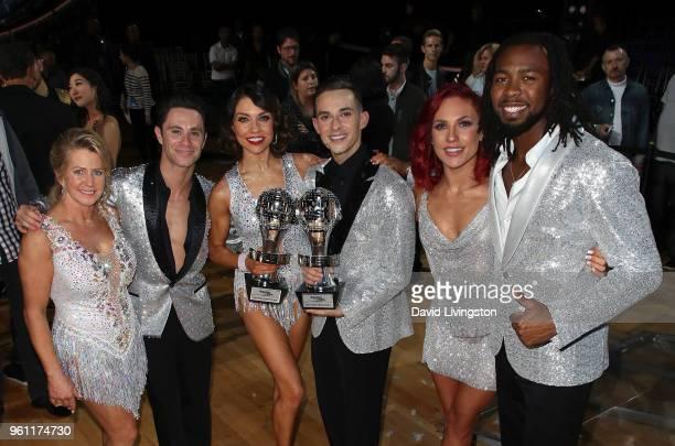 Figure skater Tonya Harding dancer/TV personality Sasha Farber Mirrorball trophy winners dancer/TV personality Jenna Johnson and figure skater Adam...
