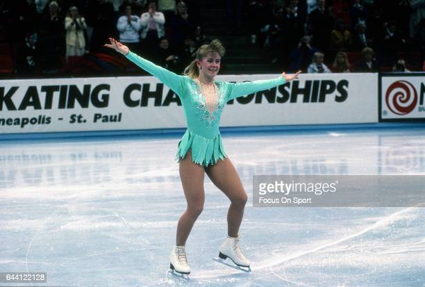 Figure Skater Tonya Harding of the United States competes in the US Figure Skating Championships circa 1991 at the Target Center in Minneapolis...