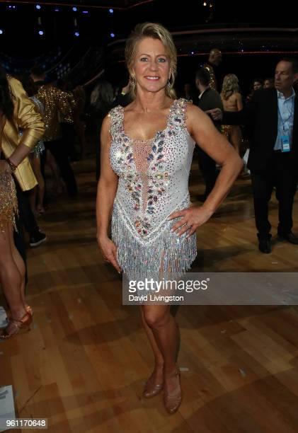 "Figure skater Tonya Harding poses at ABC's ""Dancing with the Stars: Athletes"" Season 26 - Finale on May 21, 2018 in Los Angeles, California."