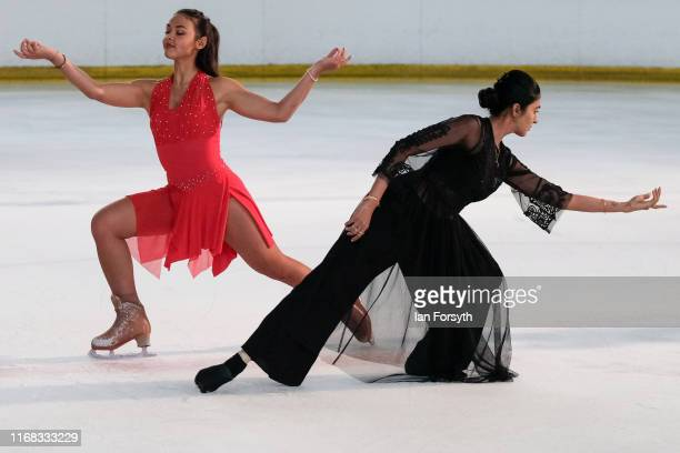 Figure skater Vanessa Bauer performs with a dancer from the UK based Balbir Singh Dance Company during final rehearsals for the world premiere ice...
