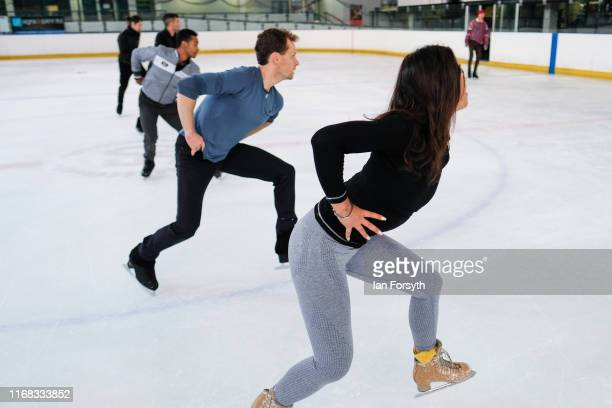 Figure skater Vanessa Bauer practices her routines with other skaters during final rehearsals for the world premiere ice skating performance of The...