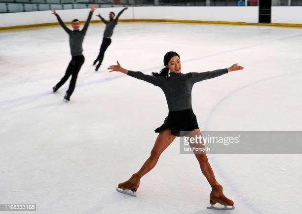 Figure skater Yebin Mok leads other skaters as they perform during final rehearsals for the world premiere ice skating performance of The Creative...