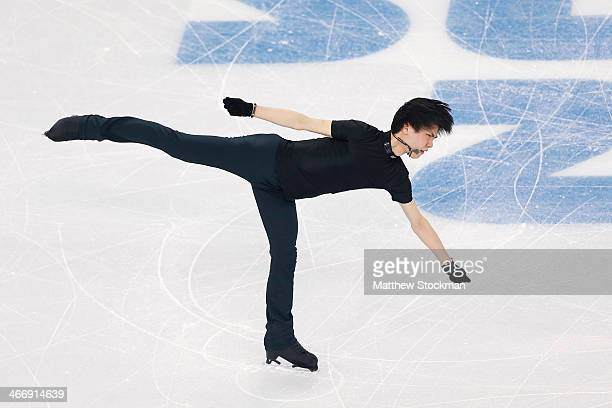 Figure skater Yuzuru Hanyu of Japan practices ahead of the Sochi 2014 Winter Olympics at the Iceberg Skating Palace on February 5 2014 in Sochi Russia