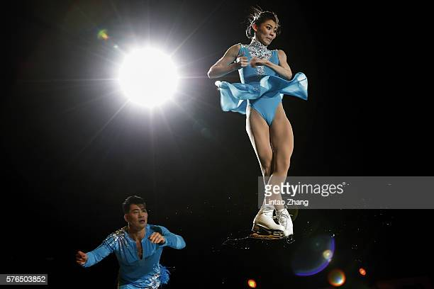 Figure Skater Zhang Hao and Yu Xiaoyu of China performs during the 2016 'Amazing on Ice' at Capital Indoor Stadium on July 15 2016 in Beijing China
