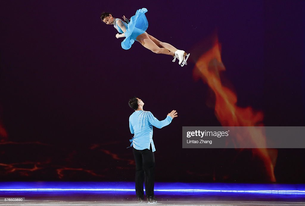 Figure Skater Zhang Hao and Yu Xiaoyu of China performs during the 2016 'Amazing on Ice' at Capital Indoor Stadium on July 15, 2016 in Beijing, China.