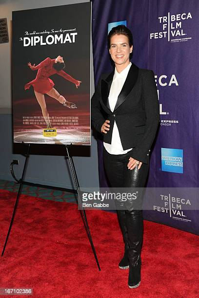 Figure skater/Model Katarina Witt attends the ESPN Nine for IX 'The Diplomat' Special Screening on April 20 2013 in New York City