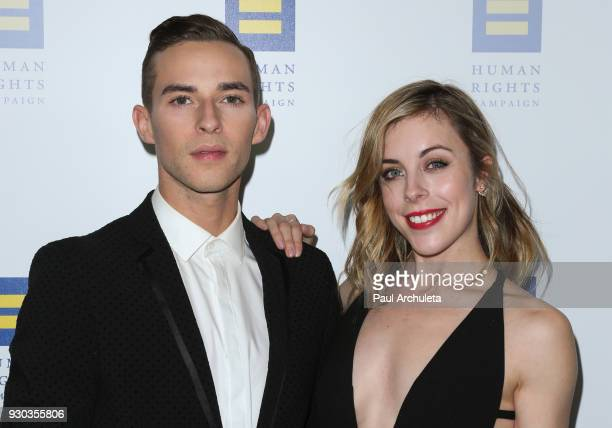 Figure Skaters Adam Rippon and Ashley Wagner attend the Human Rights Campaign's 2018 Los Angeles Gala Dinner at JW Marriott Los Angeles at LA LIVE on...