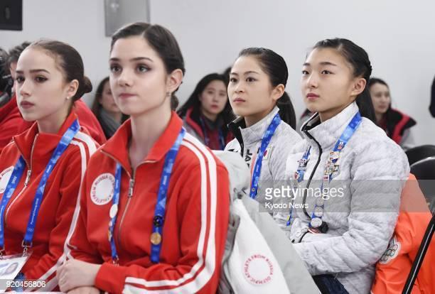Figure skaters Alina Zagitova and Evgenia Nedvedeva both of Russia and Satoko Miyahara and Kaori Sakamoto both of Japan attend the draw for the...