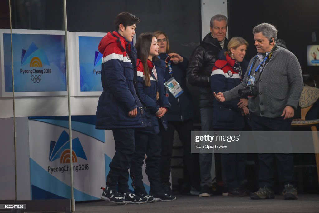 U.S. Figure Skaters and bronze medalists Alex and Maia Shibutani prepare for interview on the set of Today Show in the middle of the Olympic Cluster during the 2018 Winter Olympic Games at the Gangneung Ice Arena on February 20, 2018 in PyeongChang, South Korea.