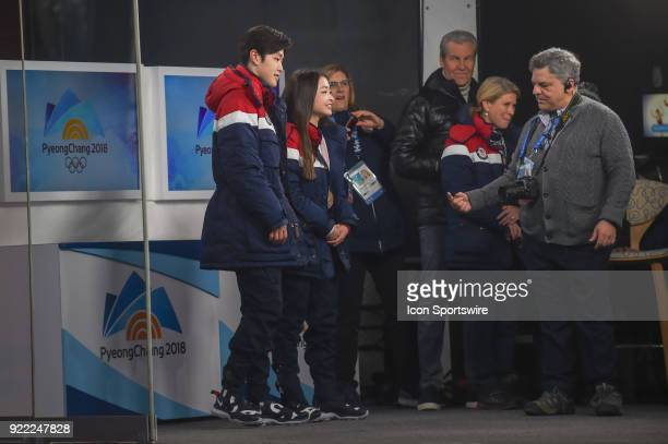 US Figure Skaters and bronze medalists Alex and Maia Shibutani prepare for interview on the set of Today Show in the middle of the Olympic Cluster...