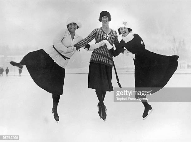 Figure skaters at the 1924 winter Olympics in Chamonix France 30th January 1924 Left to right Herma PlanckSzabo of Hungary Ethel Muckelt of Britain...