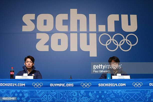 Figure skaters Daisuke Takahashi and Tatsuki Machida of Japan attend the Japan Fugire skating Mne's team press conference during day 3 of the Sochi...