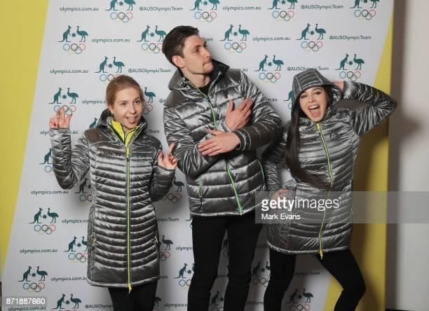 Figure skaters Ekaterina Alexandrovskaya Harley Windsor and Kailani Craine pose for photographs during the Australia Winter Olympic Athlete...