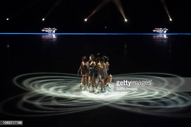 Figure skaters 'Eva Ruiz y las Revolutionettes' seen performing on ice during the show Revolution on Ice Tour show is a spectacle of figure skating...