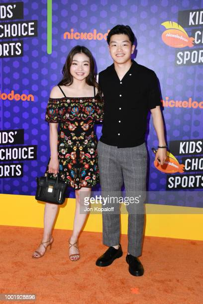 Figure skaters Maia Shibutani and Alex Shibutani attend the Nickelodeon Kids' Choice Sports 2018 at Barker Hangar on July 19 2018 in Santa Monica...