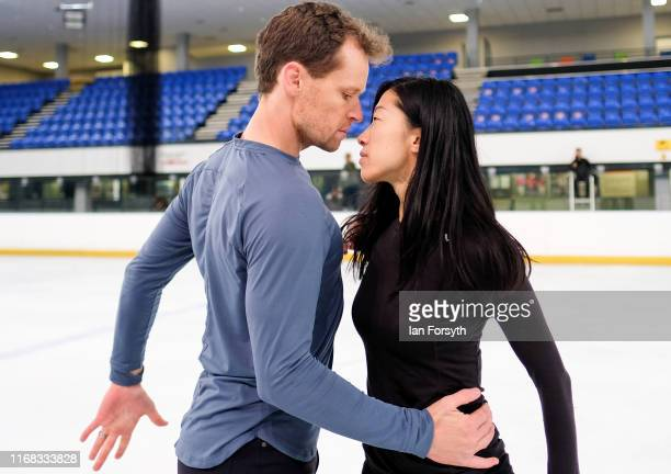 Figure skaters Mark Hanretty and Yebin Mok practice their routine during final rehearsals for the world premiere ice skating performance of The...