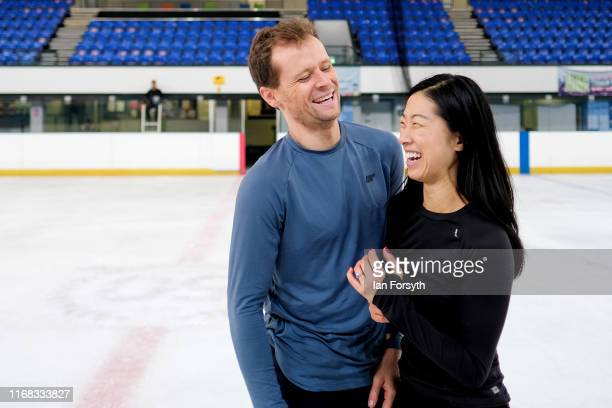 Figure skaters Mark Hanretty and Yebin Mok react as they share a joke during final rehearsals for the world premiere ice skating performance of The...