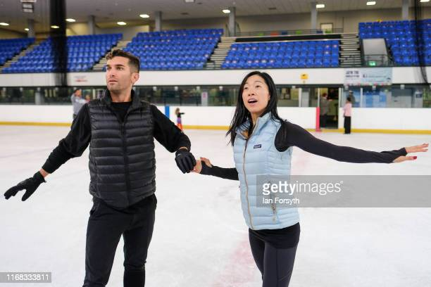 Figure skaters Mauro Bruni and Yebin Mok work through a routine during final rehearsals for the world premiere ice skating performance of The...