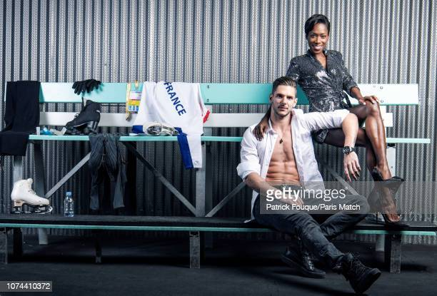 Figure skaters Morgan Cipres and Vanessa James are photographed for Paris Match on November 25 2018 in Grenoble France