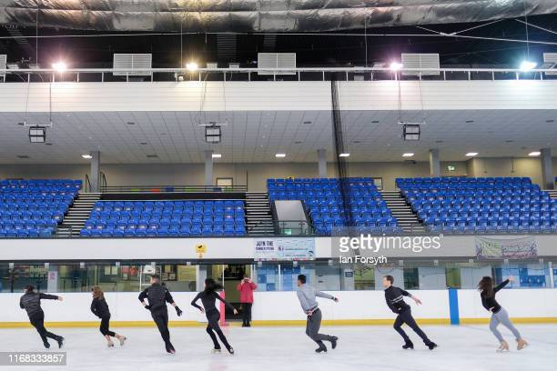 Figure skaters practice their performance during final rehearsals for the world premiere ice skating performance of The Creative Spirit of John Curry...