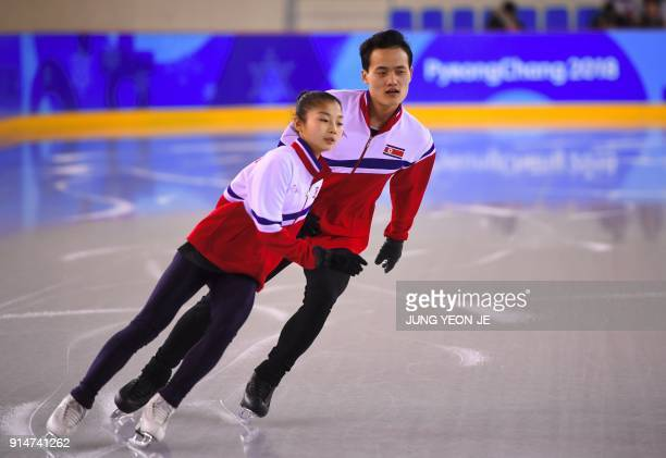 TOPSHOT Figure skaters Ryom TaeOk and Kim JuSik of North Korea attend a practice session at the Gangneung Ice Arena in Gangneung on February 6 2018...