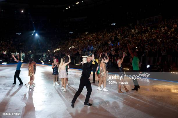 Figure skaters seen performing during the show Revolution on Ice Tour show is a spectacle of figure skating on ice with an international cast of...