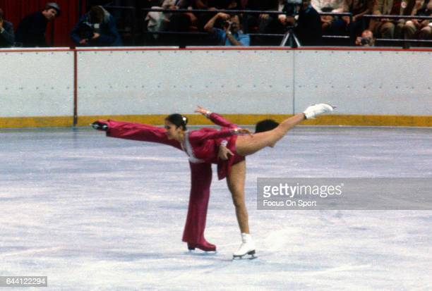 Figure Skaters Tai Babilonia and Randy Gardner of the United States competes in the pairs competition in the 1980 US Figure Skating Championships...