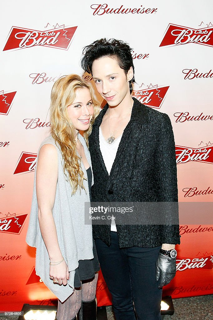 Figure skaters Tara Lipinski and Johnny Weir arrive at the Club Bud Budweiser Party on February 25, 2010 at the Commodore Ballroom in Vancouver, Canada.