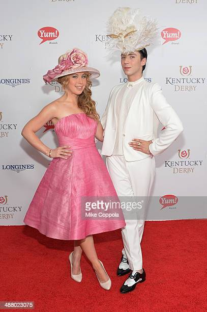 Figure skaters Tara Lipinski and Johnny Weir attend 140th Kentucky Derby at Churchill Downs on May 3 2014 in Louisville Kentucky
