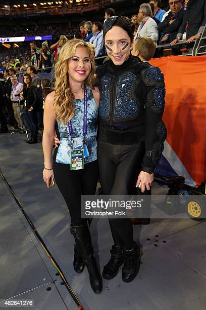 Figure skaters Tara Lipinski and Johnny Weir attend Super Bowl XLIX at University of Phoenix Stadium on February 1 2015 in Glendale Arizona