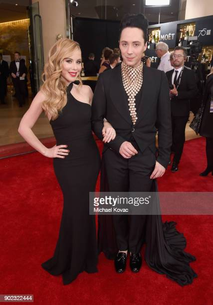 Figure skaters Tara Lipinski and Johnny Weir celebrate The 75th Annual Golden Globe Awards with Moet Chandon at The Beverly Hilton Hotel on January 7...