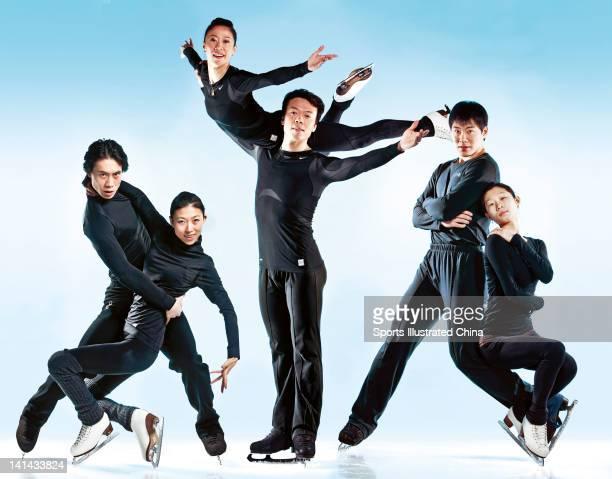 Figure skaters Tong Jian Pang Qing Shen Xue Zhao Hongbo Zhang Hao and Zhang Dan are photographed for Sports Illustrated China on December 20 2008 in...