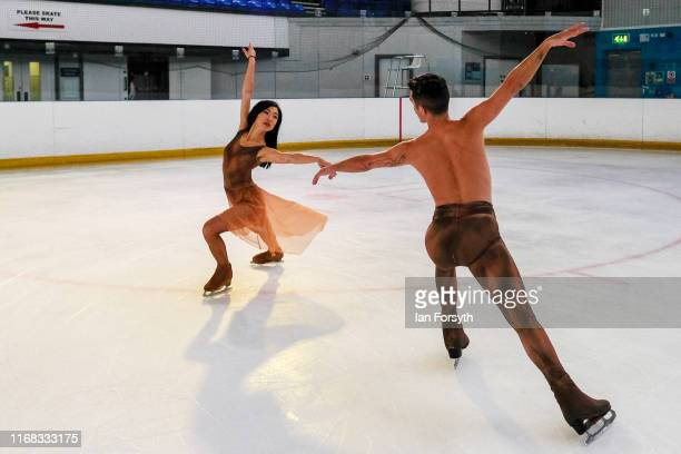 Figure skaters Yebin Mok and Mauro Bruni perform during final rehearsals for the world premiere ice skating performance of The Creative Spirit of...