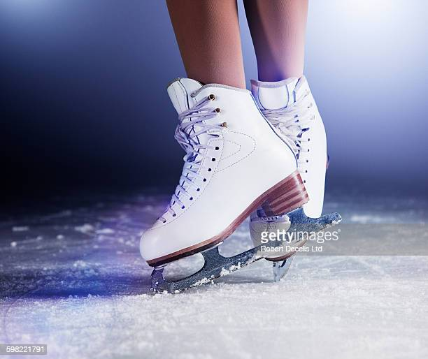 figure skates on ice - ice skate stock pictures, royalty-free photos & images