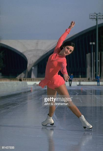 Figure Skating 1968 Winter Olympics Portrait of USA Peggy Fleming in action during practice Grenoble FRA 2/5/1968