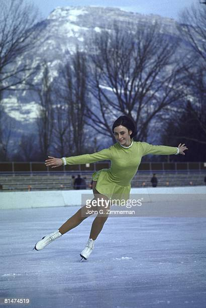 Figure Skating 1968 Winter Olympics USA Peggy Fleming in action during practice Grenoble FRA 2/5/1968