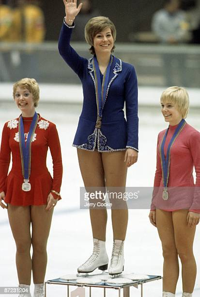 1972 Winter Olympics Canada Karen Magnussen Austria Beatrix Schuba and Canada Janet Lynn on medal stand after Ladies Program at Mikaho Indoor Skating...