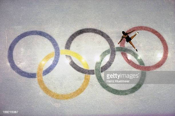 1992 Winter Olympics Aerial view of USA Kristi Yamaguchi in action during Women's Singles Free Skating Finals at Olympic Ice Hall Albertvile France...