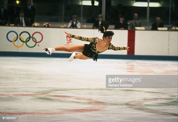 Figure Skating 1992 Winter Olympics USA Kristi Yamaguchi in action doing Arabian during free program Albertville FRA 2/21/1992