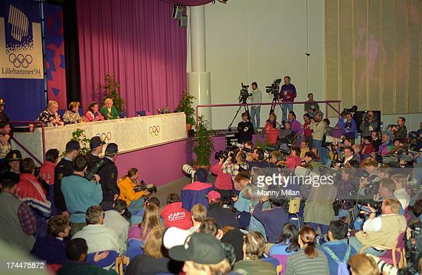 1994 Winter Olympics Overall view of USA Nancy Kerrigan and Tonya Harding on podium during press conference Lillehammer Norway 2/12/1994 CREDIT Manny...