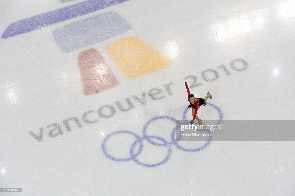 Aerial view of Japan Mao Asada in action during Women's Free Skating at Pacific Coliseum. Asada won silver. Vancouver, Canada 2/25/2010