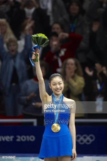 2010 Winter Olympics South Korea Kim YuNa victorious with gold medal after winning Women's Free Skating at Pacific Coliseum Vancouver Canada...