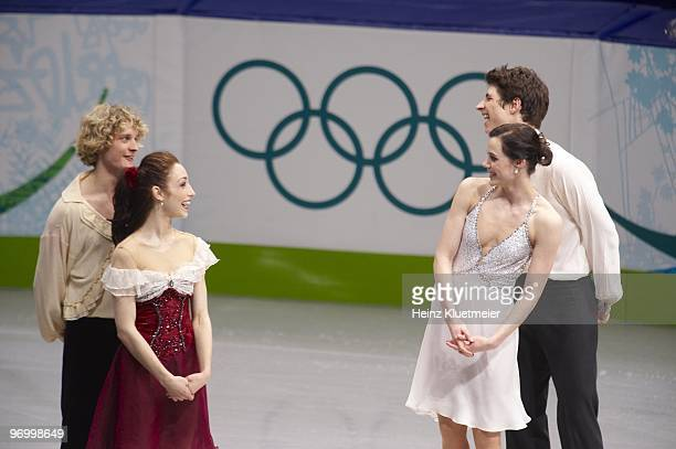 2010 Winter Olympics USA Meryl Davis and Charlie White and Canada Tessa Virtue and Scott Moir victorious after winning Ice Dancing Competition at...