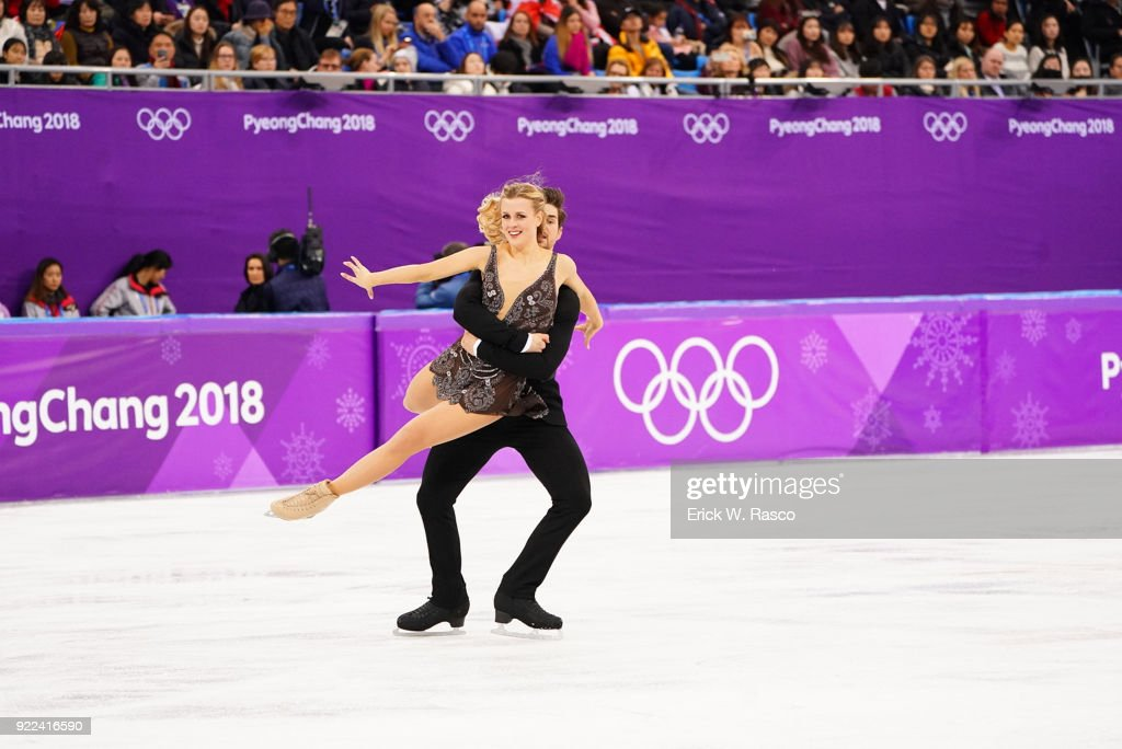 USA Madison Hubbell and Zachary Donohue in action during Ice Dance Free Dance at Gangneung Ice Arena. Erick W. Rasco X161686 TK1 )