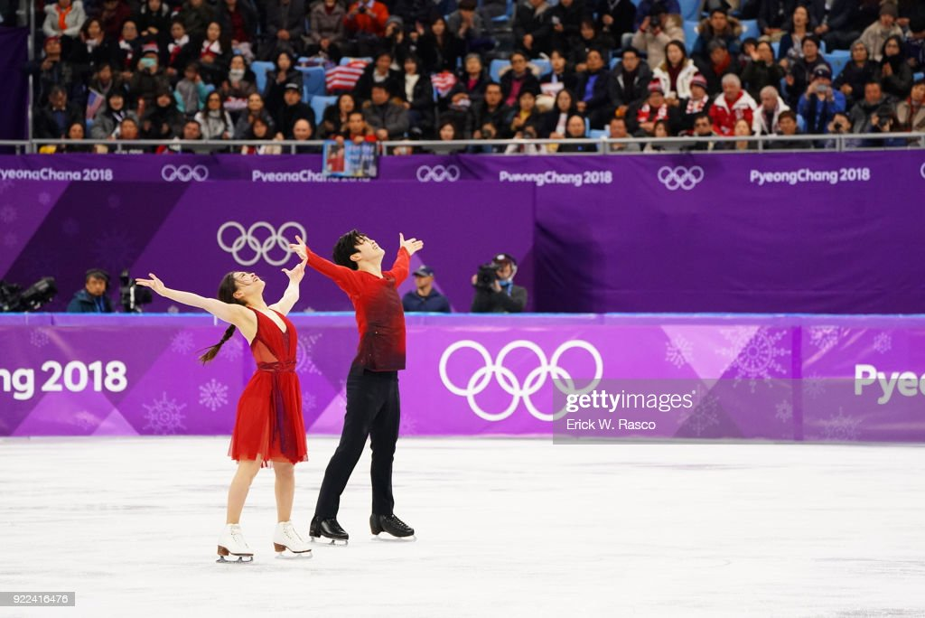 USA Maia Shibutani and Alex Shibutani victorious at the end of Ice Dance Free Dance at Gangneung Ice Arena. Shibutanis won bronze medal. Erick W. Rasco X161686 TK1 )